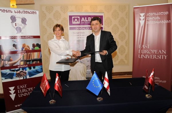 The cooperation agreement between EEU and Ketevan Gogilashvili's Dentistry Center ,,Albius""