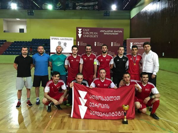 Rector of East European University congratulated the Futsal team and coaches with the first league victory!