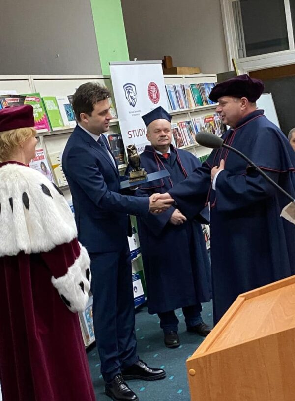 The Rector of East European University, Dr. David Cherkezishvili has been awarded the title of Honorary Doctor of Warsaw University of Humanities