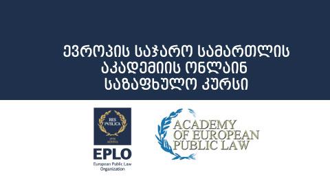 ევროპის საჯარო სამართლის აკადემიის ონლაინ საზაფხულო კურსი